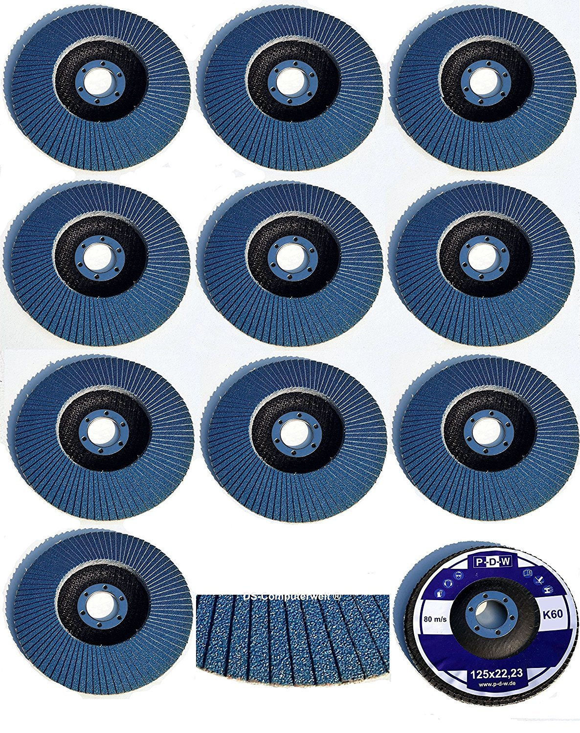/Mix Pack/ /Mixed 5/Each of 40//60//80//120/Grit Blue//Inox Fan Lock Washer//Abrasive Mop Discs Flap Pack of 20/Stainless Steel Serrated Washers 125/mm Diameter/
