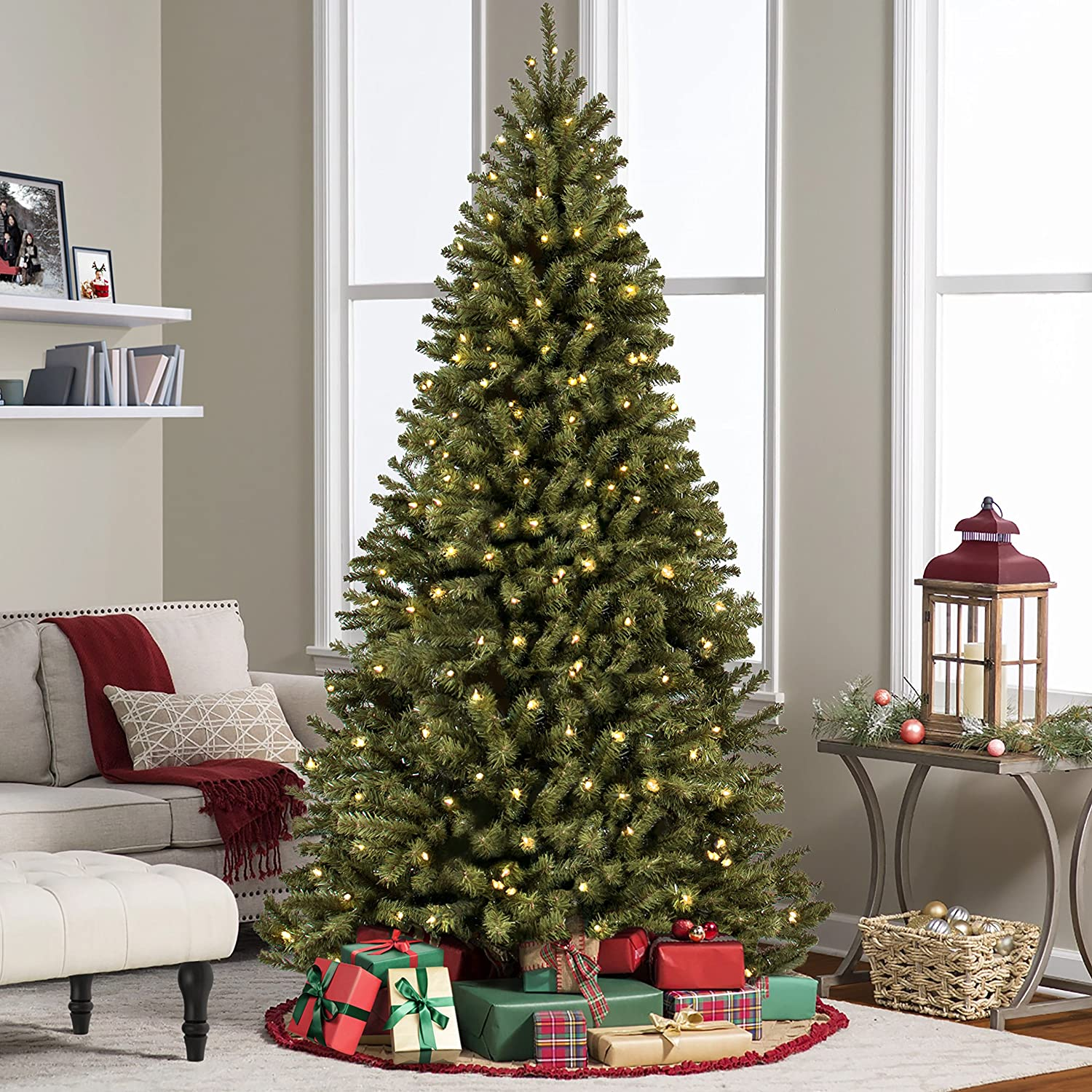 7 ft pre lit led christmas tree - Best Choice Products 7 5 Ft Prelit Premium Spruce Hinged Artificial Christmas Tree W 550 Clear Lights And Stand