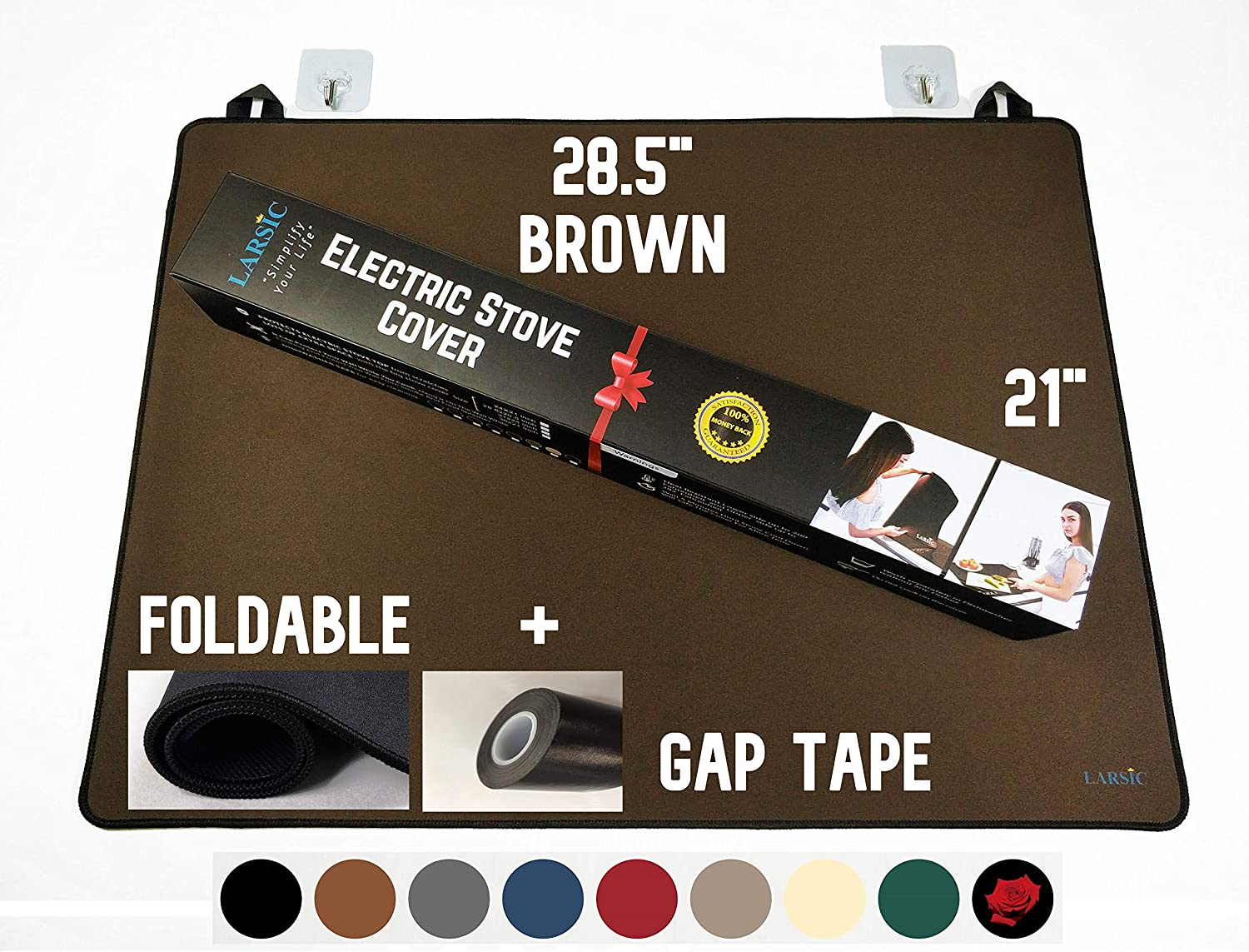 Foldable Stove Cover - Protects Electric Stove Washer Dryer Top. Anti-Slip Coating Waterproof Stove Gap Foldable Prevent Scratching, Expands Usable Space (28.5X20.5, Brown)