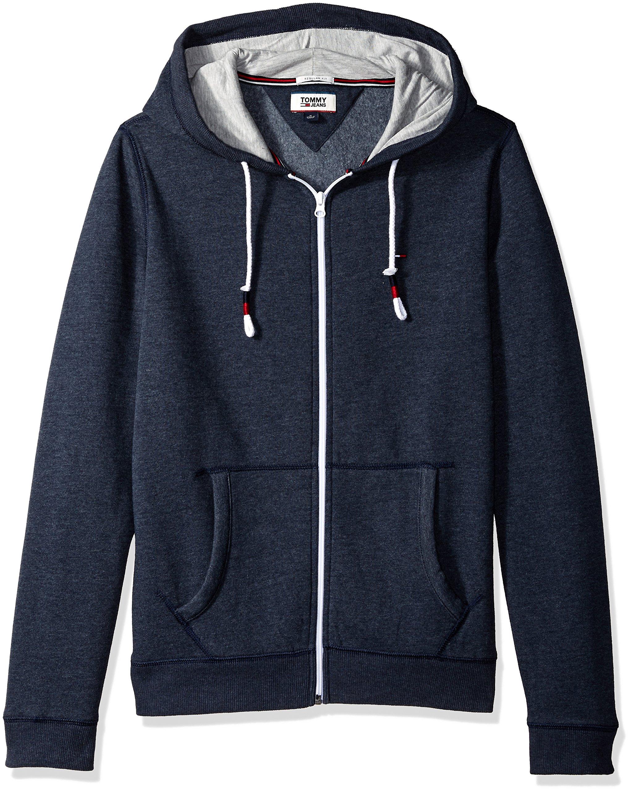 Tommy Jeans Men's Hoodie Full Zip up Sweatshirt, Black Iris, XX-Large