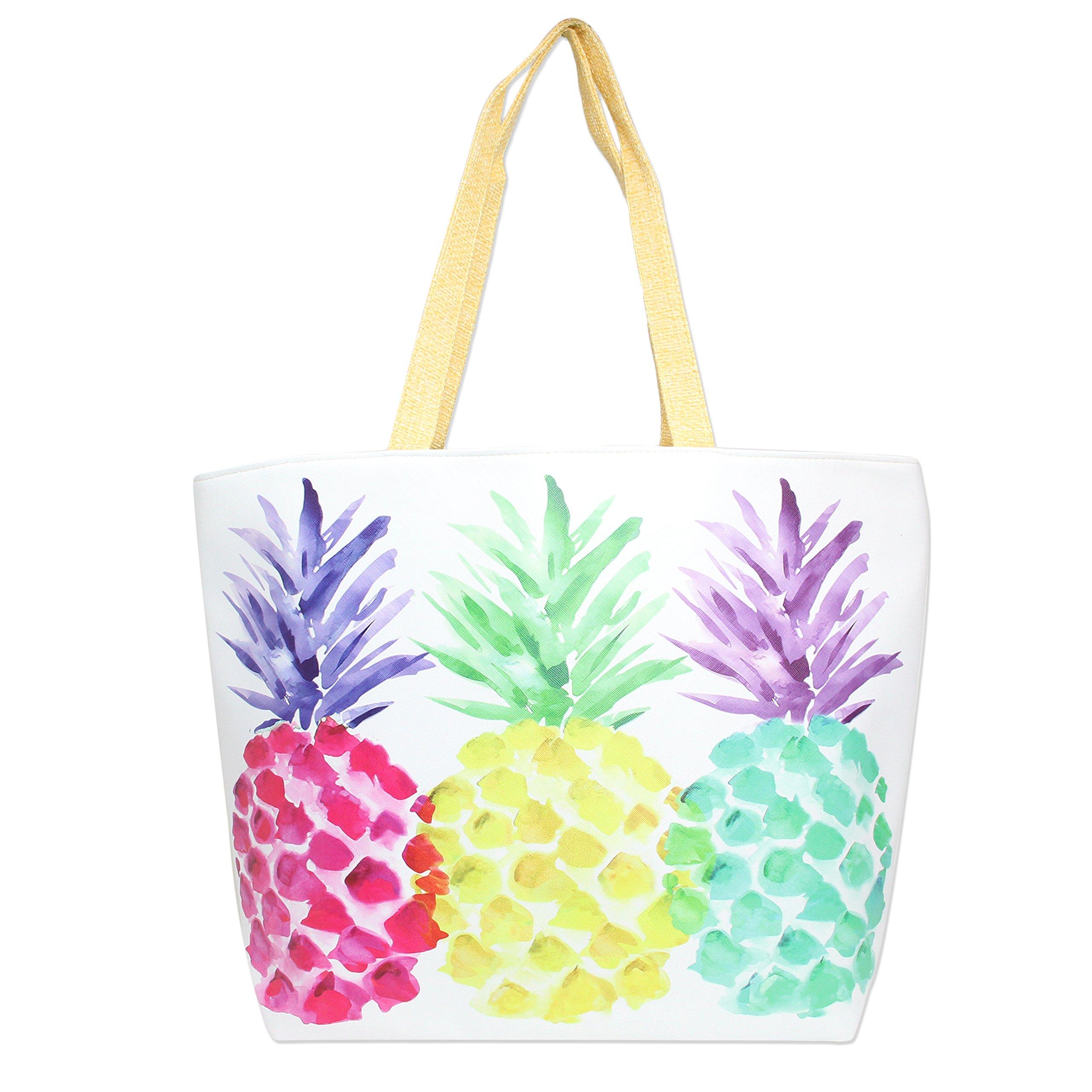 101 BEACH Colorful Summer Printed 18 inch Zipper Top Beach Tote Bag (Colorful Pineapple Print)