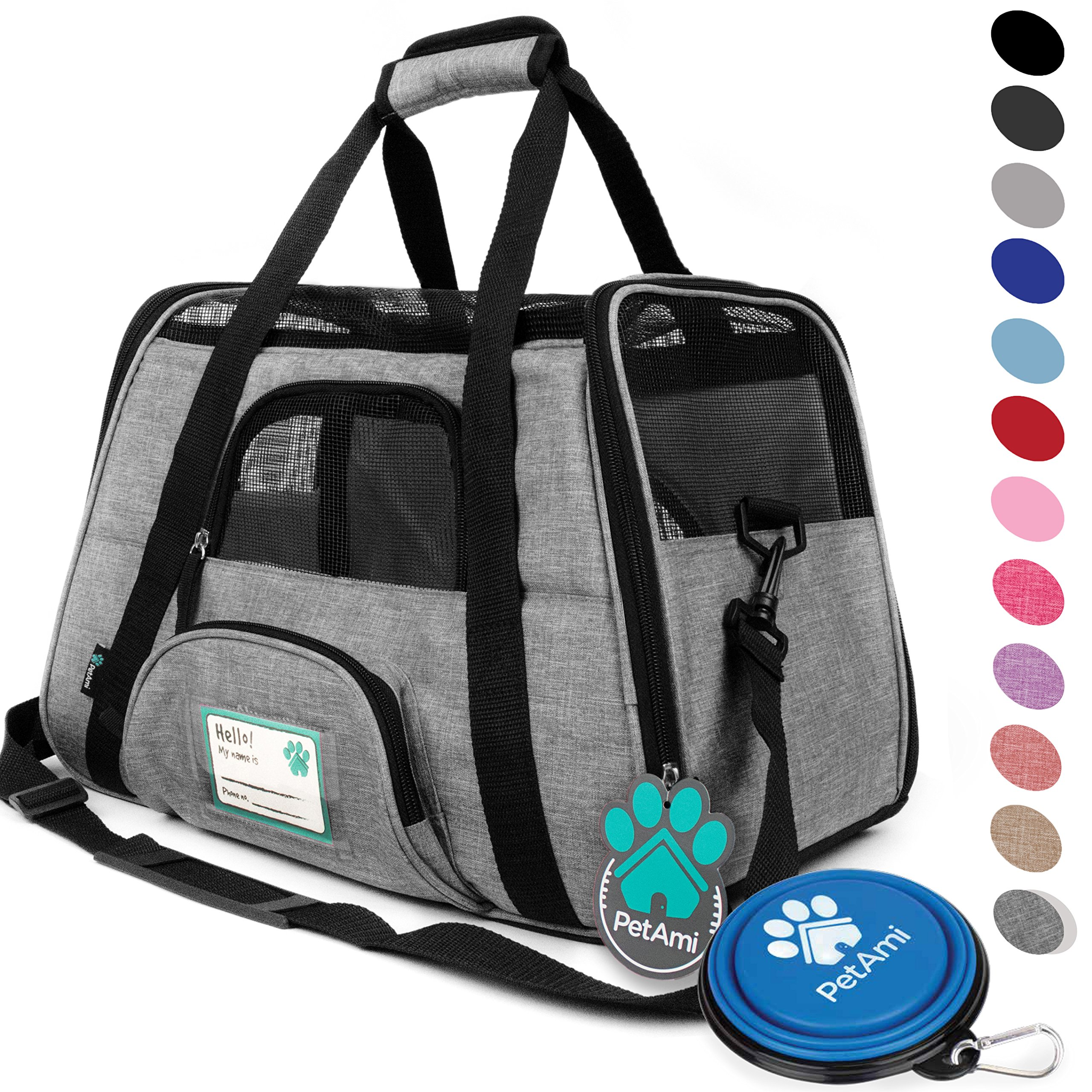 PetAmi Premium Airline Approved Soft-Sided Pet Travel Carrier | Ventilated, Comfortable Design with Safety Features | Ideal for Small to Medium Sized Cats, Dogs, and Pets (Small, Heather Gray)
