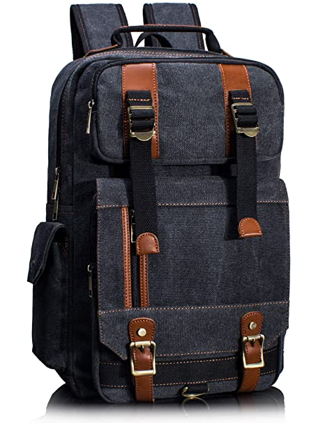 Amazon.com  Leaper Canvas Backpack for Men Unisex Laptop Bag Travel ... f47c3f11e933b