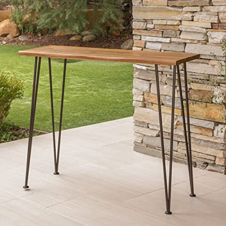Daniel Outdoor Industrial Acacia Wood Iron Bar Table in Rustic Metal and Teak Finish