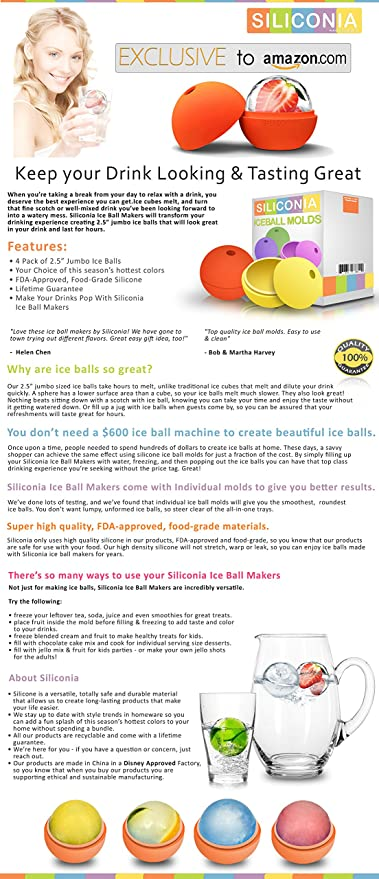 Amazoncom Siliconia Premium Ice Ball Makers 25 Inches Set 4