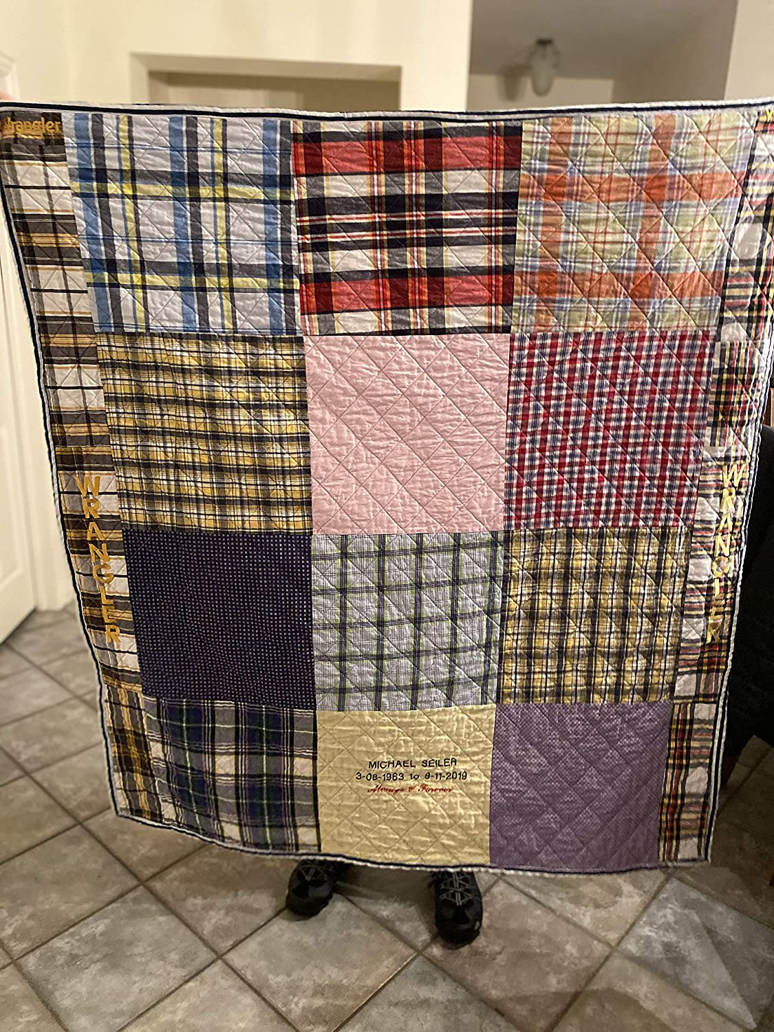Image of T-shirt quilt made from t shirts. Made-to-Order Memory tee shirt quilt. Deposit only! Please see prices below Home and Kitchen