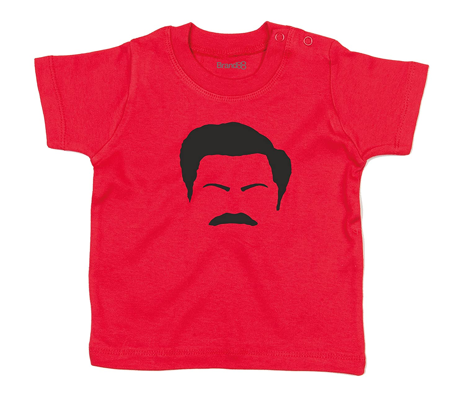 Brand88 Ron Swanson Facial Features, Baby T-Shirt BZ002_NY050