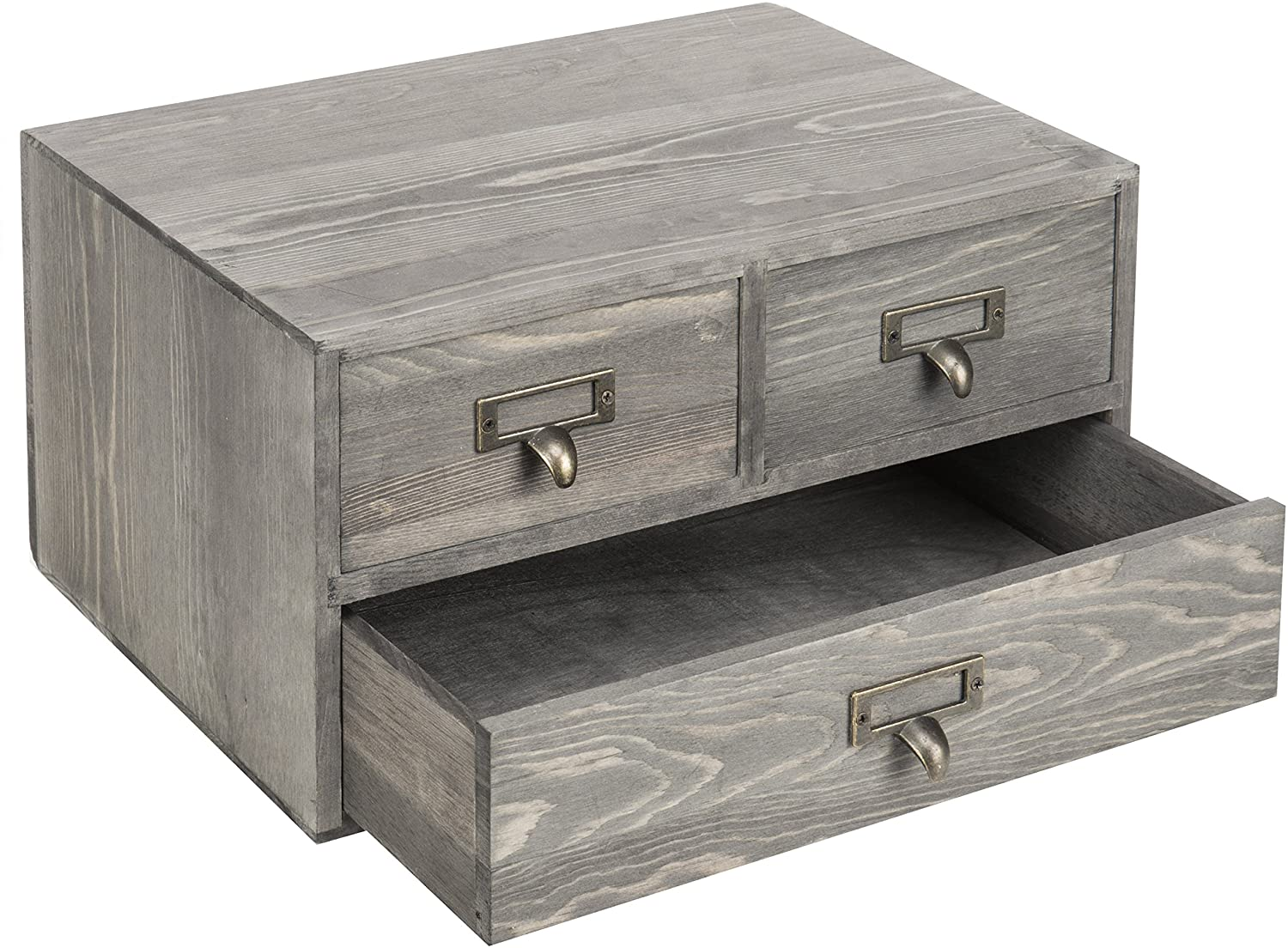 MyGift Rustic Gray Wooden 48-Drawer Desktop Storage Box Organizer