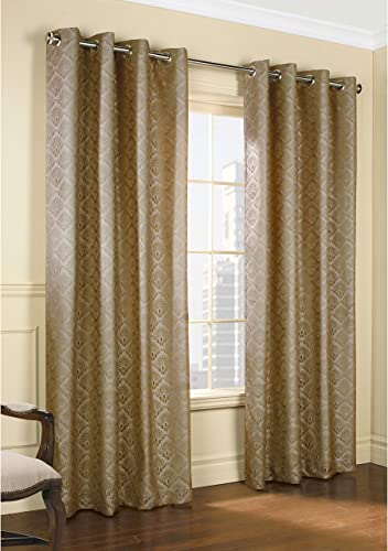 Common Wealth Home Fashions Anna Lined Lace Panel Pair, Mushroom, 104 x 63 ,PR
