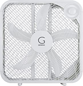 "Genesis 20"" Box Fan, 3 Settings Silent Cooling Technology, Carry Handle, 20 inch, White"