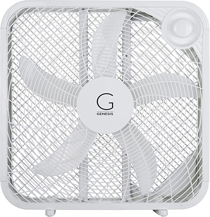 """Genesis 20"""" Box Fan, 3 Settings Silent Cooling Technology, Carry Handle, 20 inch, White"""