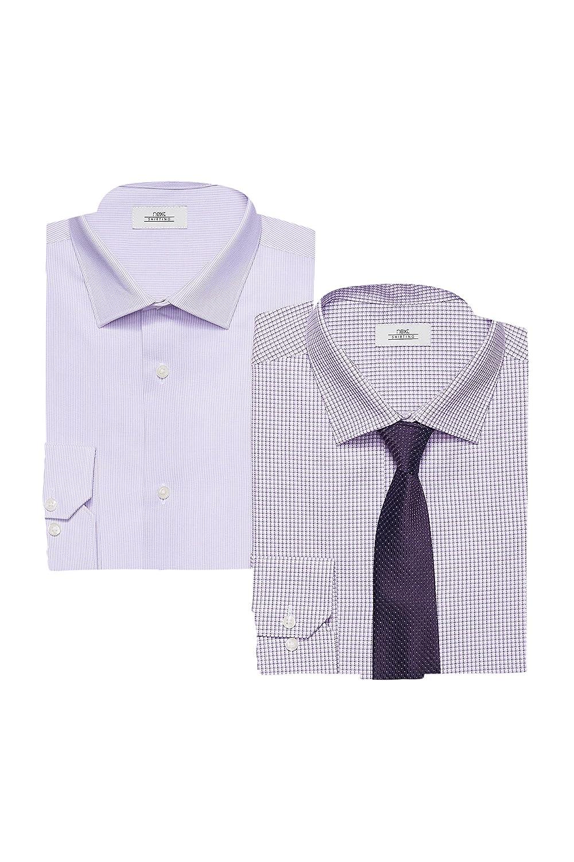 next Hombre Pack De Dos Camisas Corte Slim Y Corbata Morada Puños ...