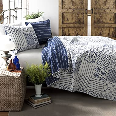 Lush Decor Monique 3 Piece Reversible Print Pattern Blue Quilt Set - Full Queen