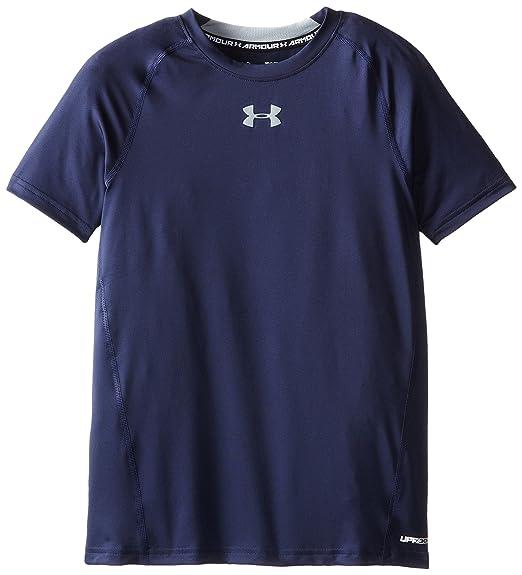 02a4a16e3 Under Armour Boys' HeatGear Armour Short Sleeve Fitted Shirt, Midnight Navy  /Steel,