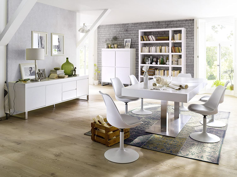 Tenzo 3303 408 TEQUILA Designer Esszimmerstuhl Viva, Kunststoffschale mit Sitzkissen in Lederoptik, Untergestell Metall, pulverbeschichtet, 83 x 49