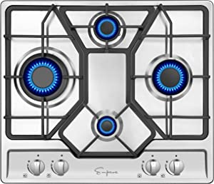 Empava 24XGC4B67A 24 Inch Stainless Steel Gas Professional 4 Italy Sabaf Burners Stove Top Certified with Thermocouple Protection Cooktops, Silver