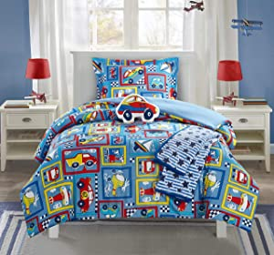 Chic Home Race 5 Piece Comforter Set High Speed Cars Planes Boats Theme Youth Design Bedding-Throw Blanket Decorative Pillow Shams Included, Full