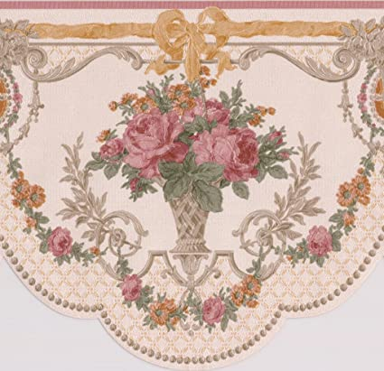 Very Pink Roses in Pots Vintage Floral Victorian Wallpaper Border Retro  TG51