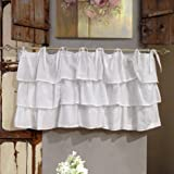 Mantovana Shabby Chic con balze Etoile Basic Collection 130 x 60 cm Colore Bianco