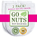 "2-PACK Best Nut Milk Bag - Premium Quality by GoNuts - BPA-Free Nylon - Durable - Fine 100-Micron Mesh - 12"" x 10"" - Create the Best Almond Milk, Cold Brew Coffee - Use as Strainer and Filter - Washable - Reusable - Plus Bonus Recipe E-book"