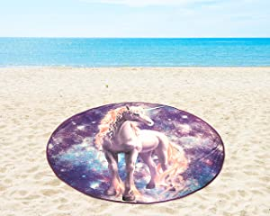 Mainstay Unicorn Round Beach Towel Pool Lake Swim Sun Bathing Summer 58 inche Tan Galaxy