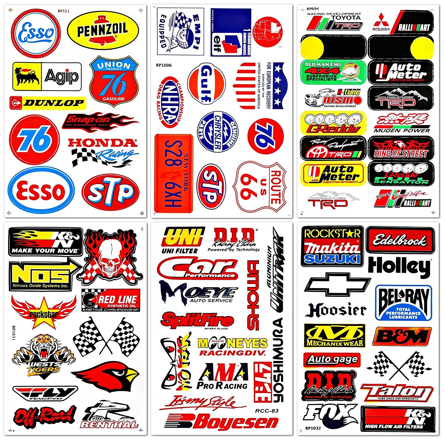 Amazon com motorsport cars nos off road oil nhra drag racing lot 6 graphic vinyl decals stickers d6054 automotive