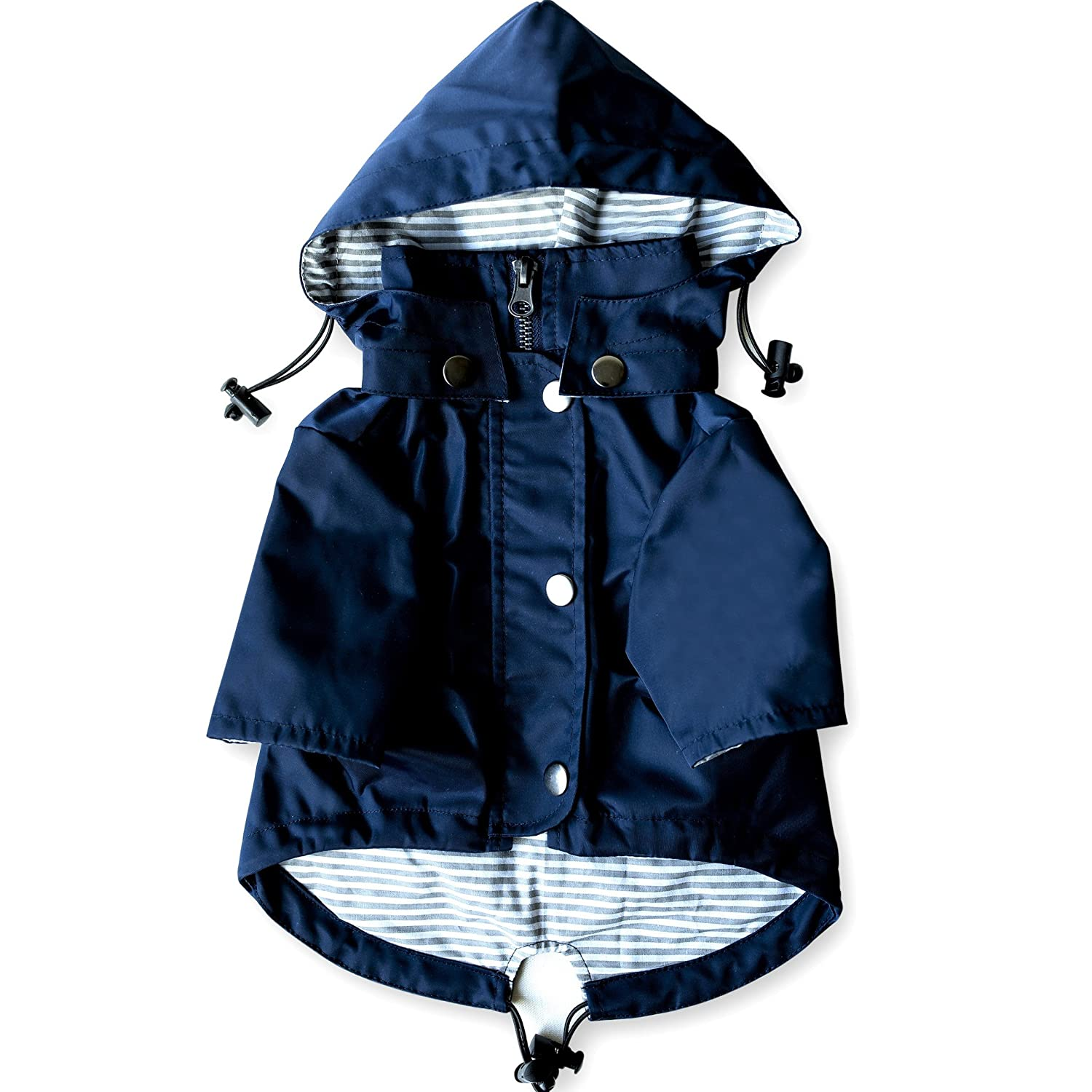 Navy Blue Zip Up Dog Raincoat with Reflective Buttons, Pockets, Rain/Water Resistant, Adjustable Drawstring, Removable Hood - Size XS to XXL Available best dog raincoat