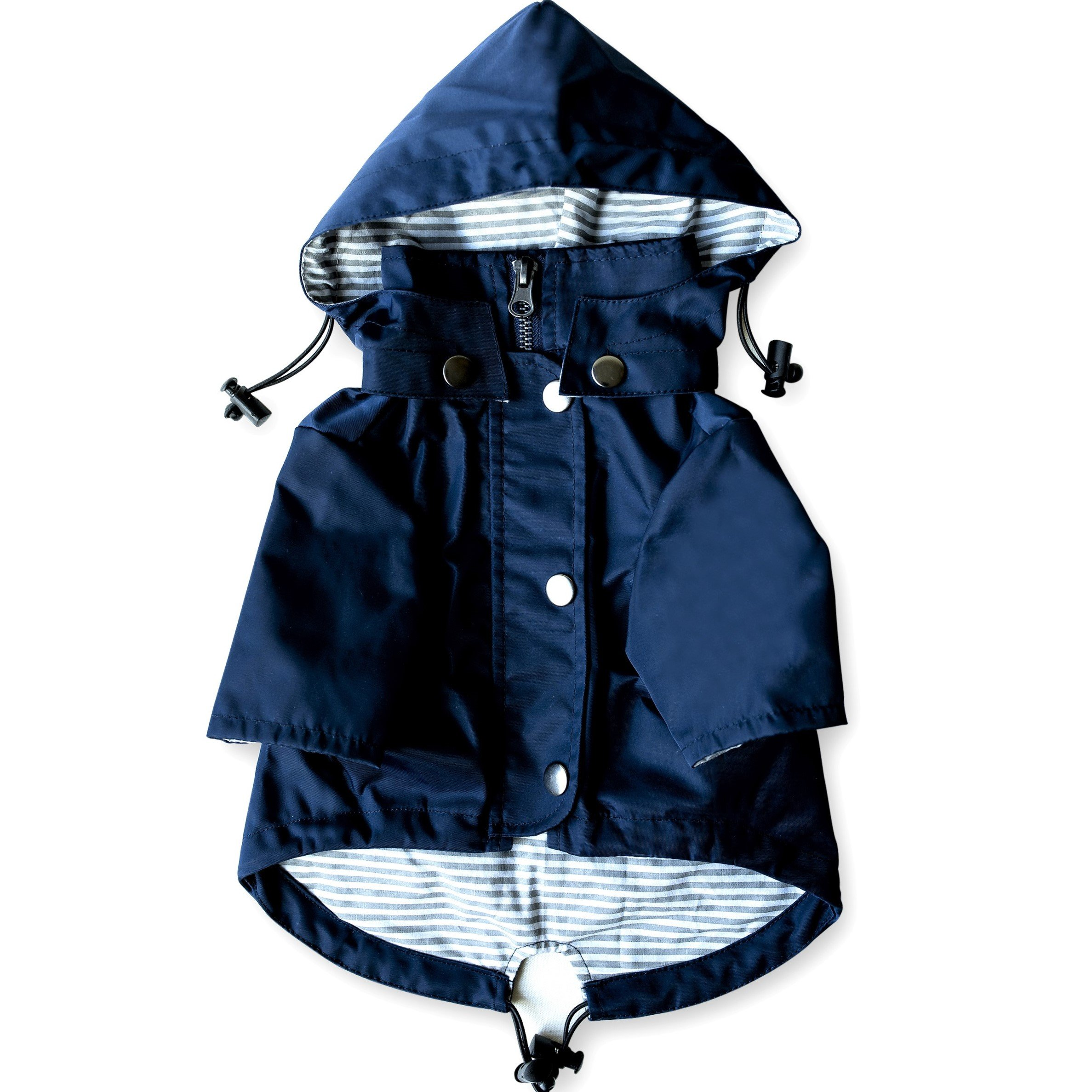 Navy Blue Zip Up Dog Raincoat with Reflective Buttons, Pockets, Rain/Water Resistant, Adjustable Drawstring, Removable Hood - Size XS to XXL Available - Stylish Premium Dog Raincoats by Ellie (L)