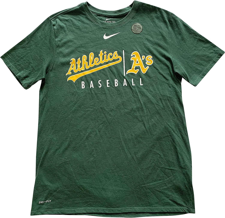 Nike Oakland Athletics MLB Mens T-Shirts Short Sleeve Crew Neck Dri-Fit Cotton Blend T-Shirt