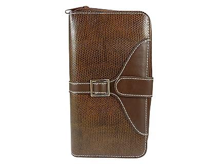 08be0b006275 Compagnon femme porte chéquier portefeuille Grand porte-monnaie motif croco  synthétique Marron