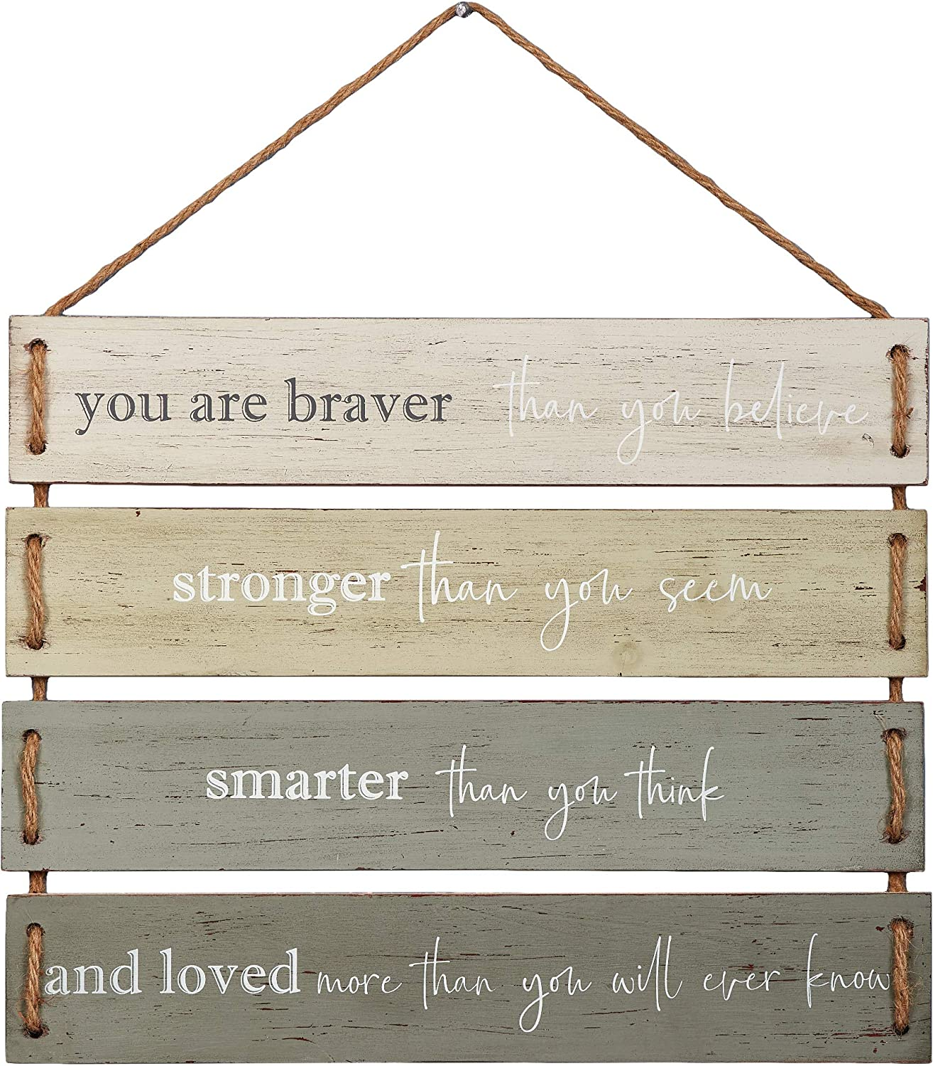 """Barnyard Designs You are Braver Than You Believe, Stronger Than You Seem Quote Wall Decor, Decorative Wood Plank Hanging Sign 17"""" x 14"""