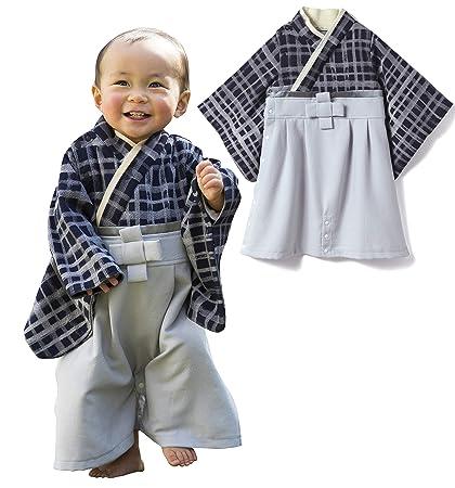 7f19d643b8c50 Sweet Mommy 袴 ロンパース ベビー 着物 カバーオール 日本製和柄ちりめん ネイビーチェック 80