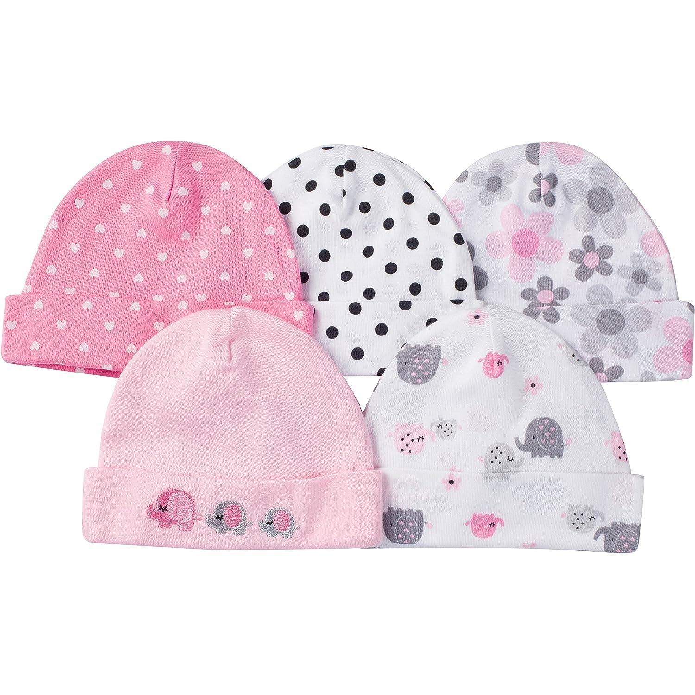 Gerber Baby Girls' 5 Pack Caps