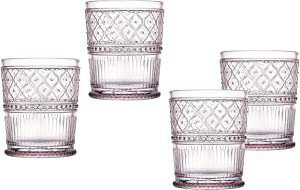 Double Old Fashioned Whiskey Glasses Beverage Glass Cup Pink Claro by Godinger - Set of 4