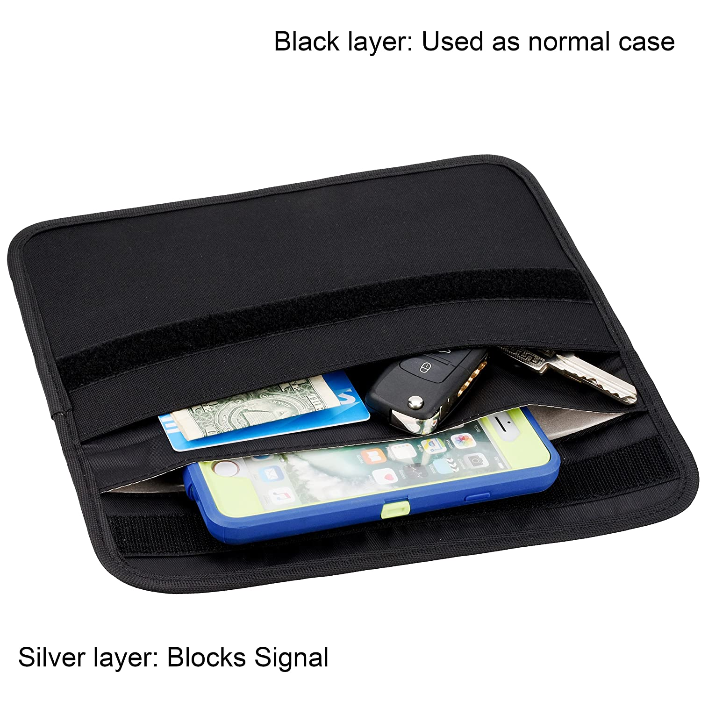 SAVITA 2 Pi/èces Protecteur de Cl/é Faraday Sac de Blocage de Signal RFID de Voiture Antivol Pochette Faraday pour Cl/és de Voiture Fibre de Carbone, Noir