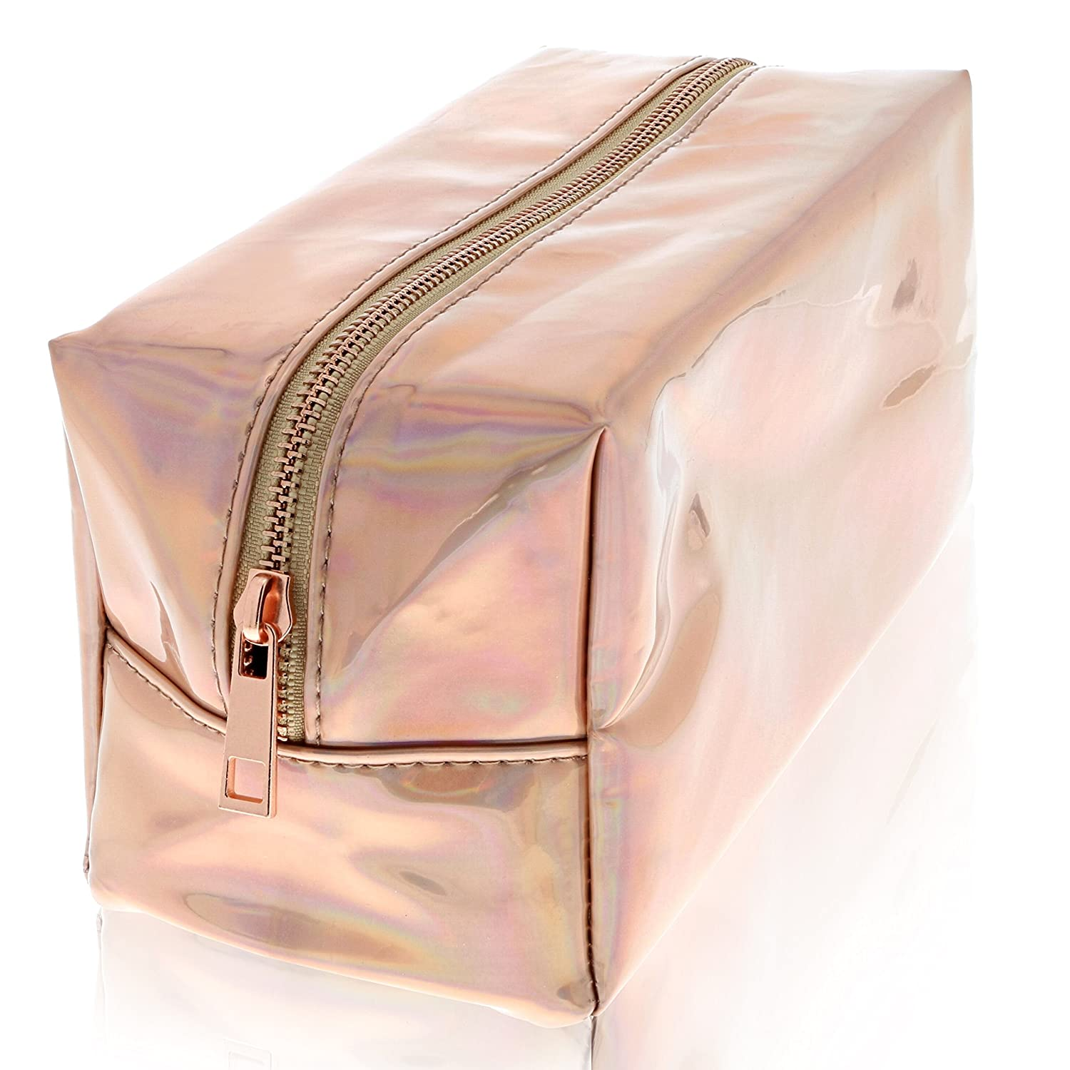 Rose Gold Holographic Makeup Bag – Metallic Cosmetic Make up Case – Cool Travel Bags