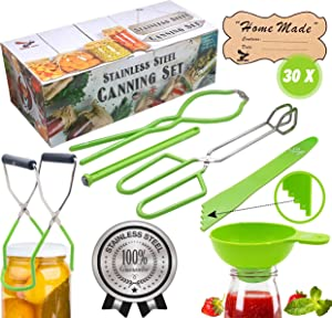 Supa Ant Stainless-Steel Canning Kit: Jar Lifter, Jar Wrench, Tongs, Lid Lifter, Extra Wide Funnel, Bubble Popper & 30