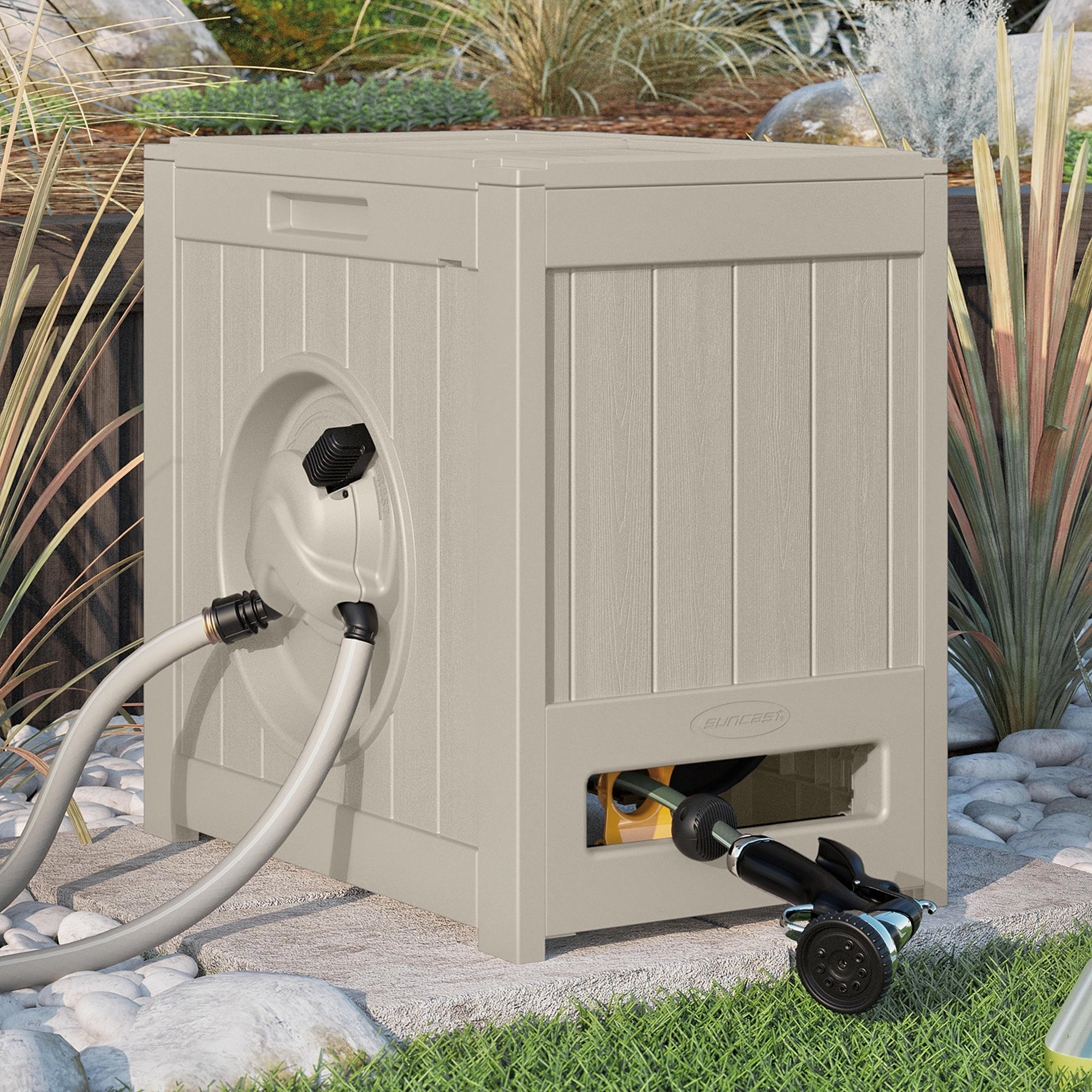Suncast Hose Reel Crate. Best Water Powered Hideaway For Flexible Water Pipe. Self Winding Holder w/ Guide. Perfect For Garden, Yard, Backyard, Patio, Poolside, Lawn Cleaning & Car Wash. Space saver by Suncast