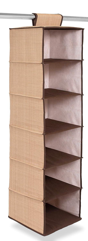 Internet's Best Hanging Closet Organizer | 6 Shelf | Clothing Sweaters Shoes Accessories Storage | Brown (Beige) Internet's Best