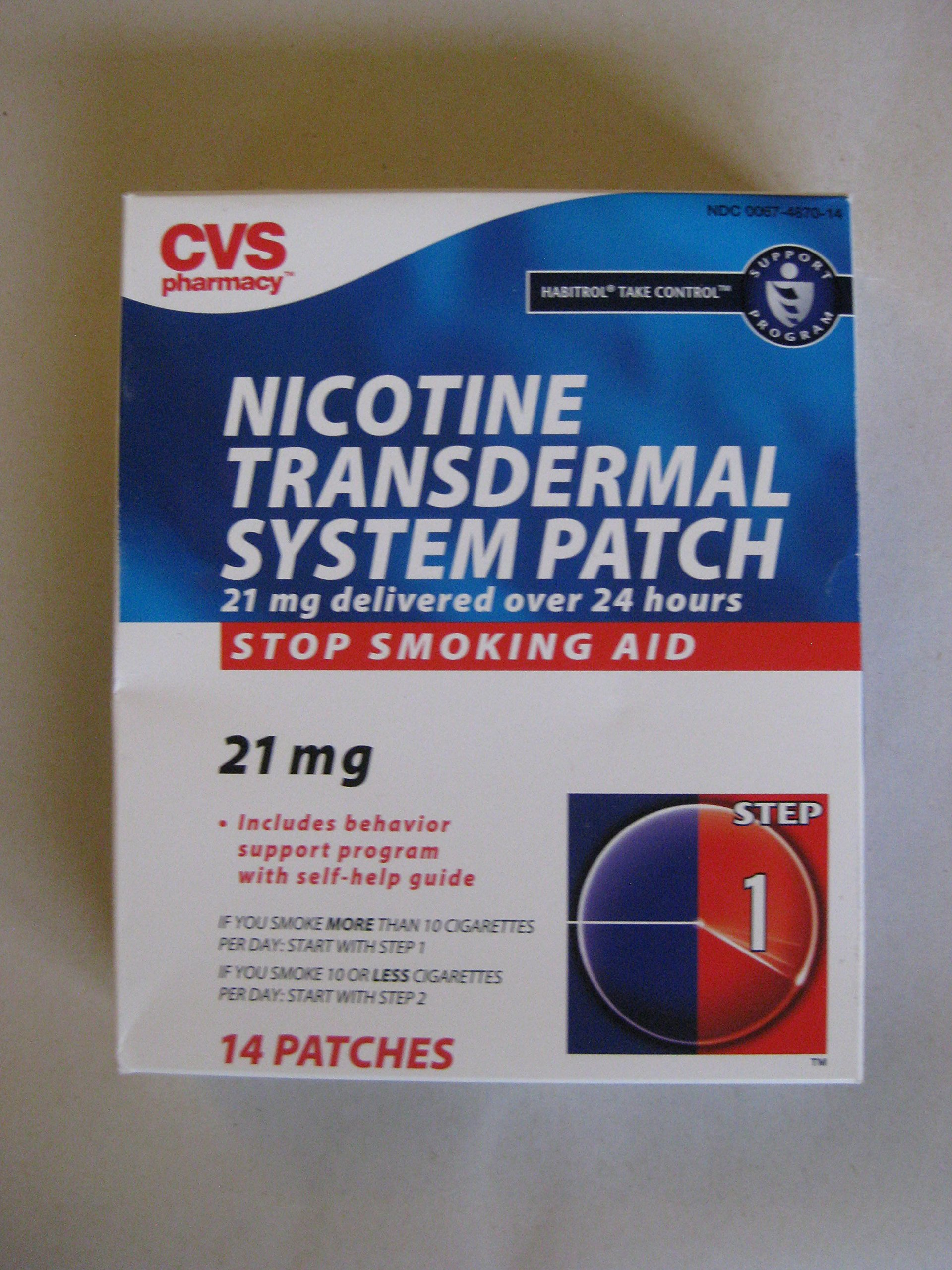 Cvs Nicotine Transdermal System PATCH 21mg STEP 1 14 PATCHES