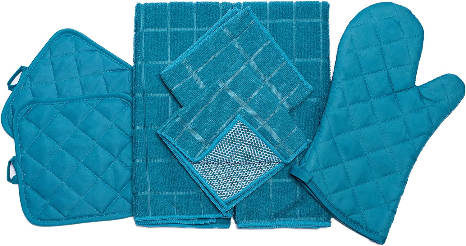 Home Collection 7 Piece Kitchen Towel Set with Dish Towels, Pot Holders, Oven Mitt, and Microfiber Scrubbing Dishcloths (Turquoise)
