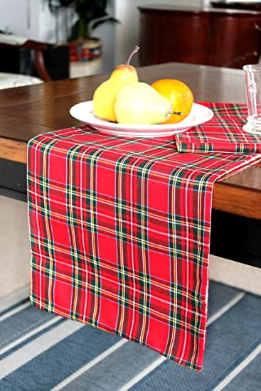 Christmas Table Runner Red Plaid, Extra Long Runner Fully Lined (12.5u0026quot;  X 144u0026quot