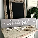 """Be Our Guest Sign - Farmhouse Decor 30"""" x 6"""" Hand Painted Distressed Gray Wood Color & White Letters"""
