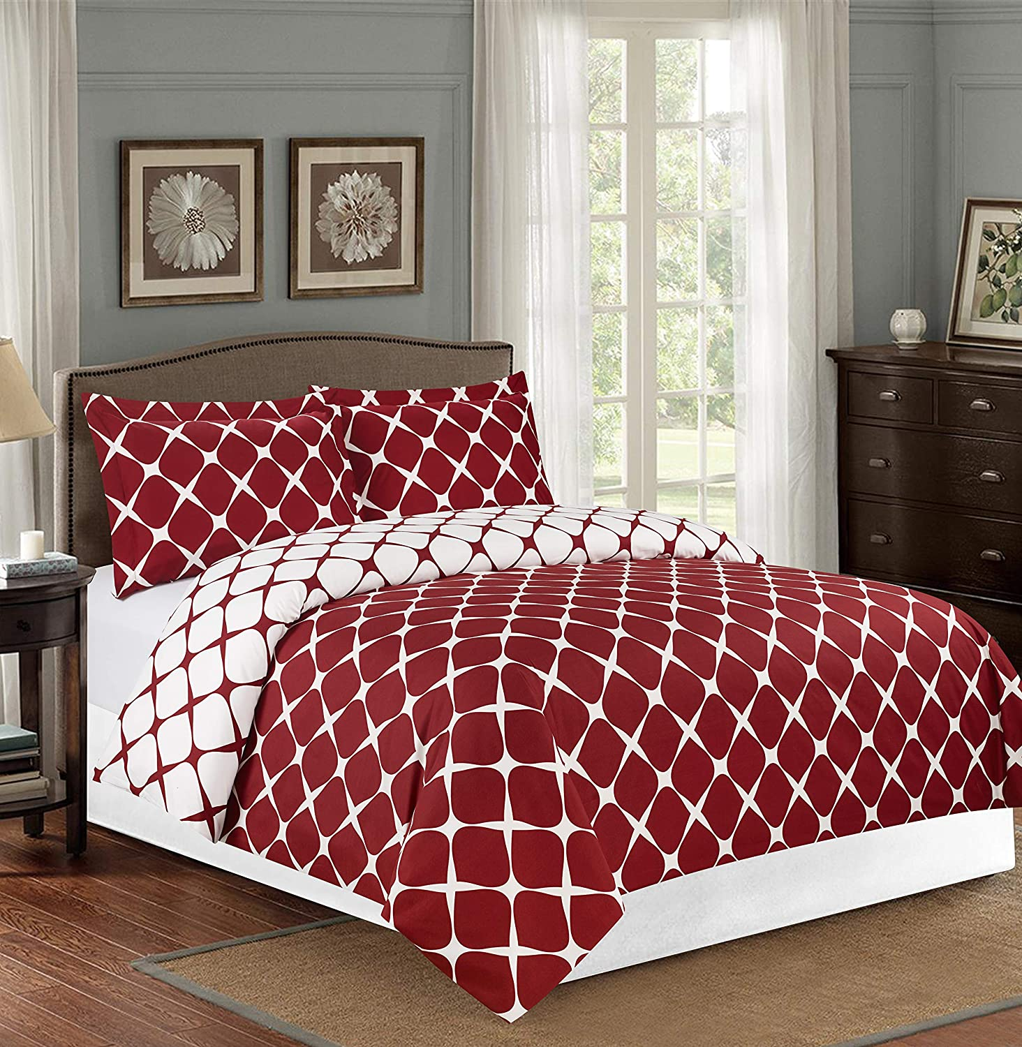 Elegant Comfort 1500 Thread Count Reversible Duvet Cover Set with Sham, Twin/Twin XL, Burgundy