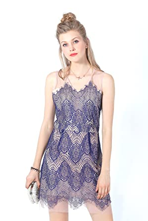 9ee9d512e3 UP Ultrapink Women s Lace Layover Mesh Shift Dress at Amazon Women s ...