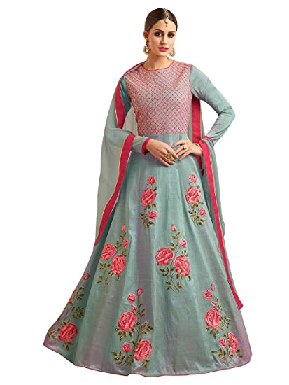 10c4160774fa ShopVilla Faux Georgette Embroidered Semi-stitched Salwar Suit Dupatta  Material  Amazon.in  Clothing   Accessories