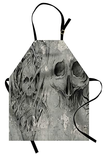 365d7ad36 Lunarable Tattoo Apron, Scary Dead Skull Skeleton Demon Gothic Elements  with Tribal Figures Artsy Design
