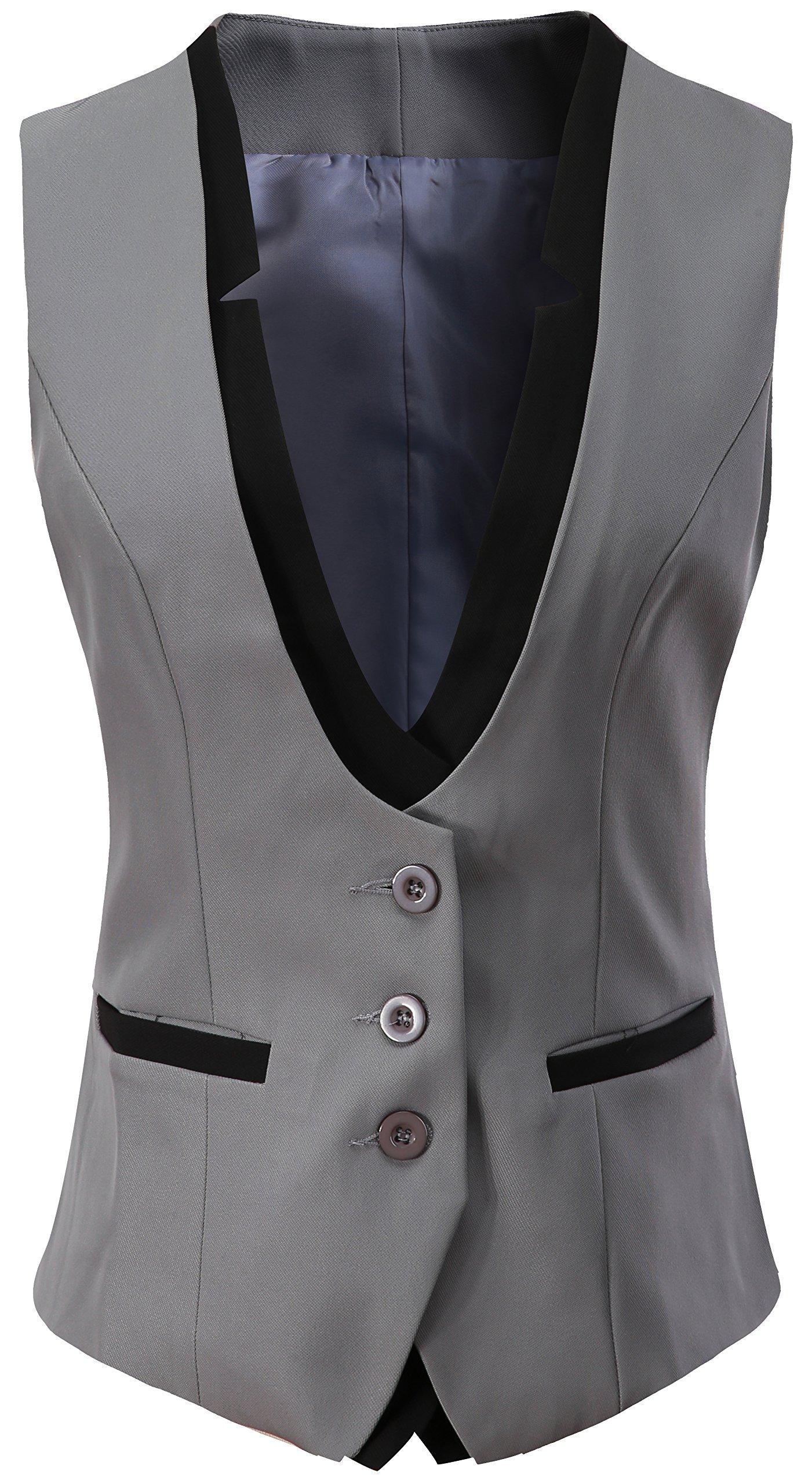 Vocni Women V-Neck Slim Fit Business Office Bottoned Dressy Suit Vest Waistcoat,Grey,US M (Fit Bust 35''-37.4''),Tag 3XL