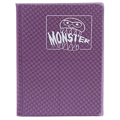Monster Binder - 4 Pocket Trading Card Album - Holofoil Purple (Anti-Theft Pockets Hold 160+ Yugioh, Pokemon, Magic The Gathering Cards): Office Products