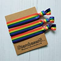 Rainbow stripe Hair Ties Pack of 3, Handmade in Scotland with love.